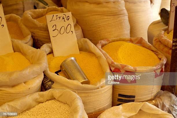 Bags of farofa at market