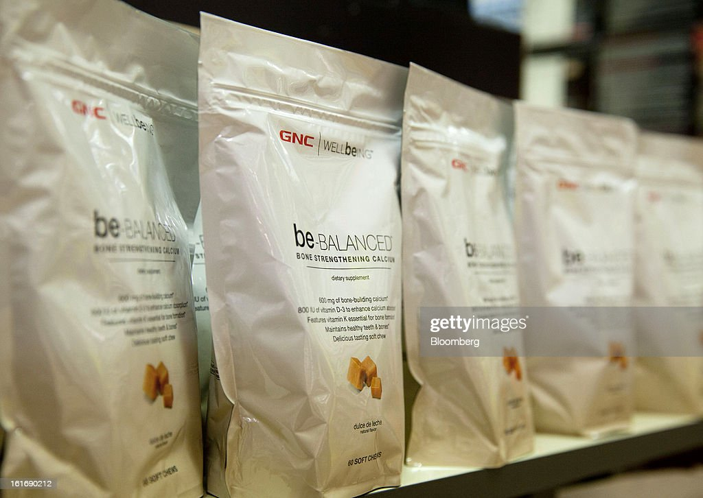 Bags of GNC Holdings Inc. treats are displayed for sale at a store in New York, U.S., on Thursday, Feb. 14, 2013. GNC Holdings Inc., a retailer of health and wellness products, reported revenue increases of 10.9% in the fourth quarter and 17.3% for the full year. Photographer: Jin Lee/Bloomberg via Getty Images