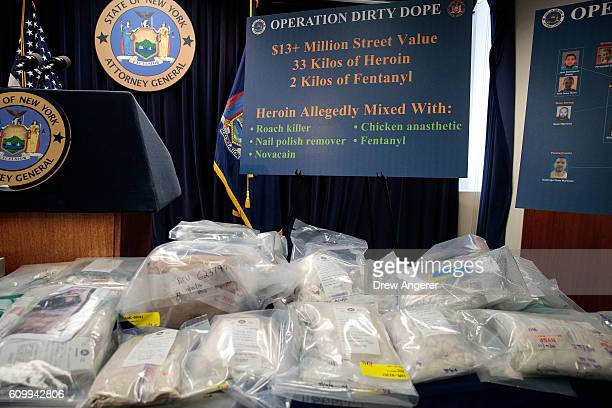 Bags of heroin are displayed before a press conference regarding a major drug bust at the office of the New York Attorney General September 23 2016...