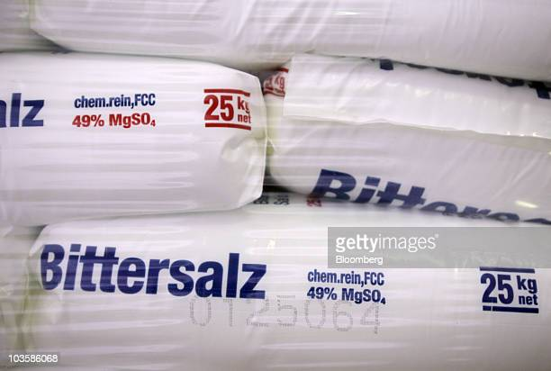 Bags of KS Kali GmbH magnesium sulfate commonly called Epsom salts sit at the company's mine in Philippsthal Germany on Tuesday Aug 24 2010 World...