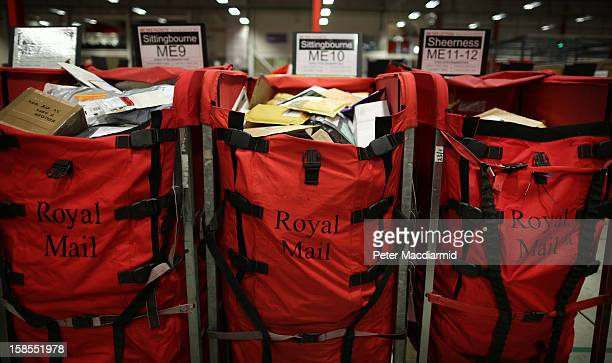 Bags of mail arrives for sorting at Royal Mail's Medway Sorting Centre on December 18 2012 in Rochester England The recently opened £70 million mail...
