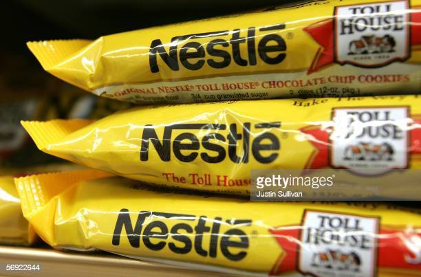 Bags of Nestle Toll House chocolate chips are seen on a store shelf February 23 2006 in San Francisco California Profit for Nestle the world's...