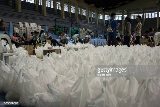 Bags of relief supplies sit at a makeshift disaster relief operations center ahead of Typhoon Mangkhut's arrival in Tuguegarao Cagayan province the...
