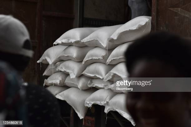 Bags of rice at a World Food Programme distribution site in Port-Salut, Haiti, on Tuesday, Aug. 24, 2021. Haiti's National Police announced Monday...