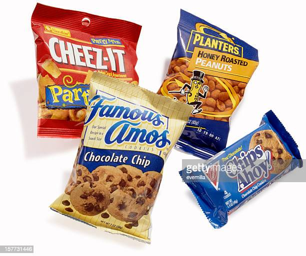 bags of snack - chips ahoy stock photos and pictures