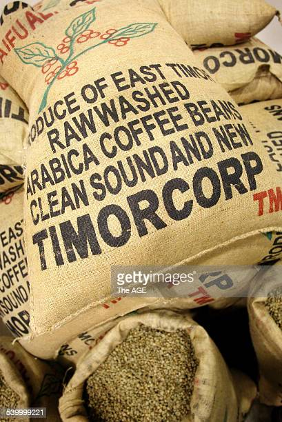 Bags of Timorcorp arabica coffee beans at the opening of a coffee processing plant in Reservoir Melbourne Victoria East Timorese President Xanana...