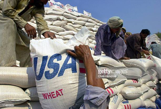 Bags of wheat donated by the United States are loaded into trucks October 2 2001 at the World Food Program facility along the border of Afganistan...