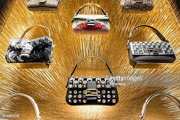 Baguette Bags manufactured by Fendi SpA sit on display at Palazzo Fendi Fendi's restored flagship store and private suites hotel in Rome Italy on...