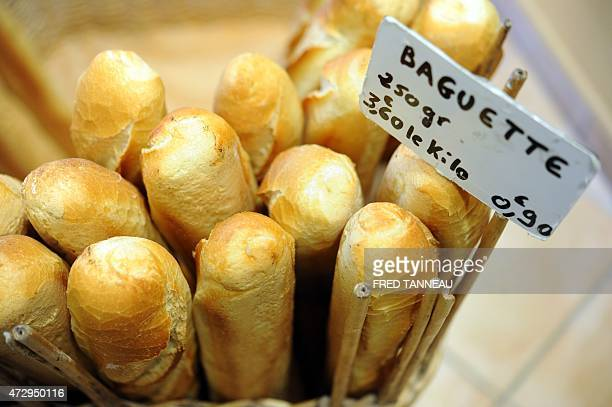Baguette bread are sold on May 11 2015 in the western French of Quimper AFP PHOTO / FRED TANNEAU