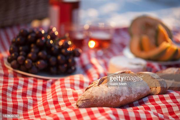 Baguette, grapes and wine