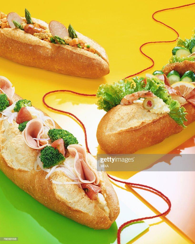 Baguette Sandwiches : Stock Photo