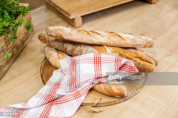 Baguettes on kitchen counter