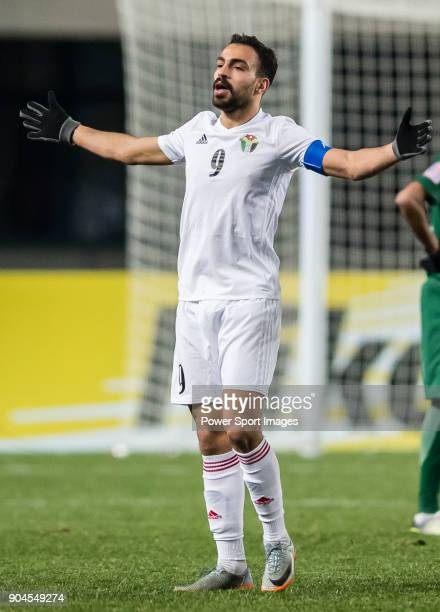 Baha' Faisal of Jordan celebrates after scoring his goal during the AFC U23 Championship China 2018 Group C match between Jordan and Saudi Arabia at...
