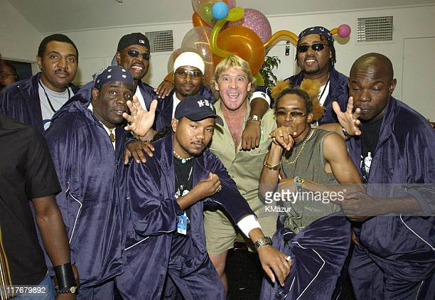 Baha Men with Steve Irwin during Nickelodeon's 15th Annual Kids Choice Awards Backstage at Barker Hangar in Santa Monica California United States