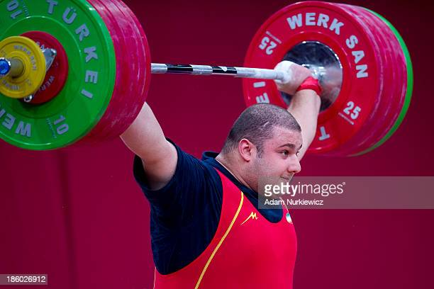Bahador Moulaei from Iran lifts in the Snatch competition men's 105 kg Group A during weightlifting IWF World Championships Wroclaw 2013 at...