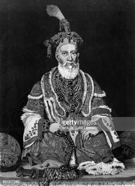 Bahadur Shah II the last Mughal Emperor of India lithograph from a painting by August Theodor Schoefft from The AngloIndian empire by Francesco...