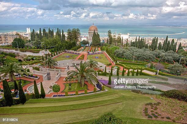 bahai gardens panorama - haifa stock pictures, royalty-free photos & images