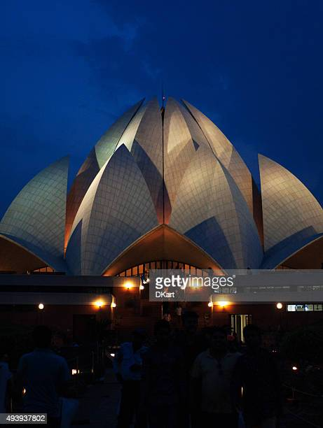 Baha'i Lotus Temple at night, New Delhi, India
