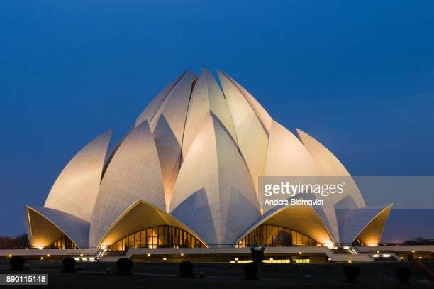 Bahai Lotus Temple in New Delhi in evening light. The temple shaped like a giant lotus flower was designed by Iranian-Canadian architect Fariburz Sahba in 1986a