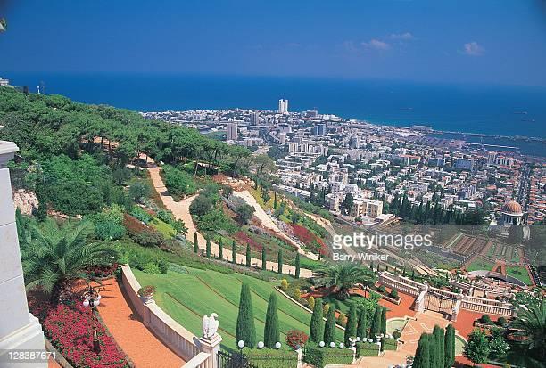 baha'i shrine and garden, israel - haifa stock pictures, royalty-free photos & images