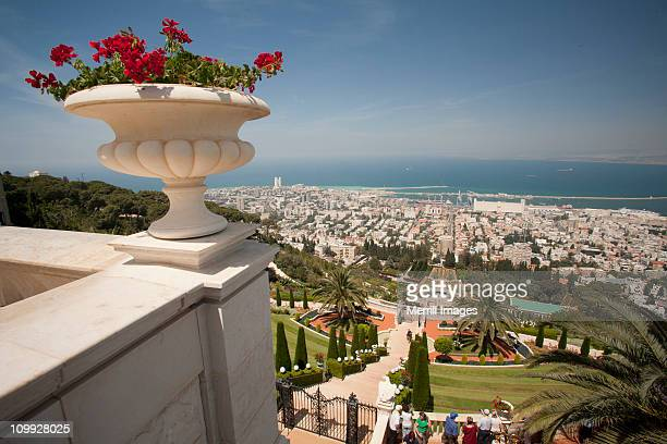 Bahai'i  Gardens, city and port of Haifa, Israel