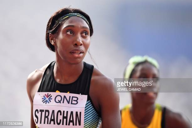 Bahamas' Anthonique Strachan reacts after competing in the Women's 200m heats at the 2019 IAAF Athletics World Championships at the Khalifa...