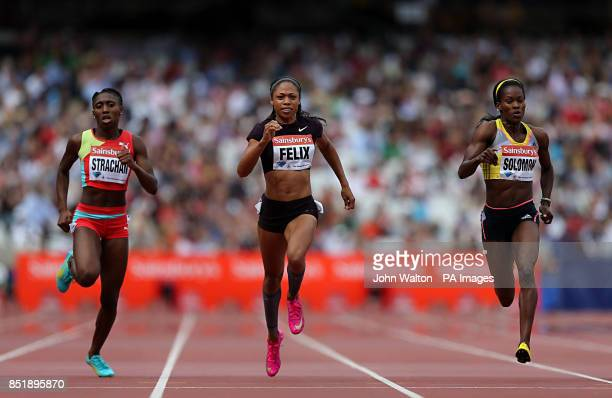 Bahamas' Anthonique Strachan USA's Allyson Felix and USA's Shalonda Solomon during the women's 200 metres during day two of the IAAF London Diamond...