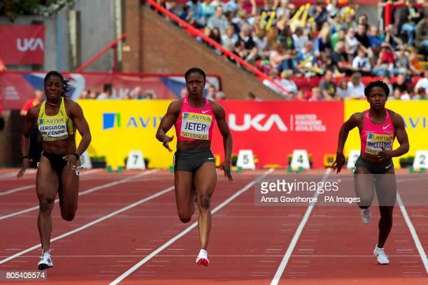 Bahamas' Debie FergusonMckenzie USA's Carmelita Jeter and USA's Lauryn Wlliam during the Women's 100 meters