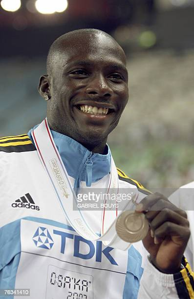 Bahamas' silver medalist Derrick Atkins poses during the men's 100m medal ceremony 27 August 2007 at the 11th IAAF World Athletics Championships in...