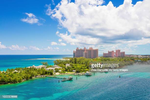 bahamas tropical beach scenery at nassau, caribbean. - nassau stock pictures, royalty-free photos & images