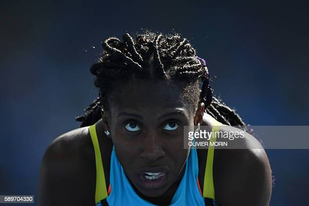 Bahamas's Anthonique Strachan looks on after competing in the Women's 200m Round 1 during the athletics event at the Rio 2016 Olympic Games at the...