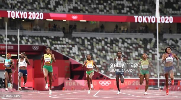 Bahamas's Shaunae Miller-Uibo, Namibia's Beatrice Masilingi, Jamaica's Elaine Thompson-Herah, Ivory Coast's Marie-Josee Ta Lou, Namibia's Christine...