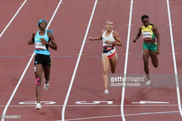 Bahamas's Shaunae Miller-Uibo wins the women's 400m semi-finals ahead of Britain's Jodie Williams and Jamaica's Roneisha McGregor during the Tokyo...