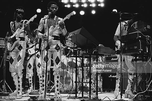 Bahamian funk and disco group TConnection performing on stage USA May 1978 They are Theophilus 'T' Coakley Kirkwood Coakley David Mackey and Anthony...