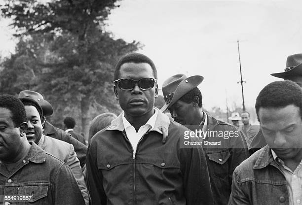 Bahamian-American actor and civil rights activist Sidney Poitier suporting the Poor People's Campaign at Resurrection City, a shantytown set up by...