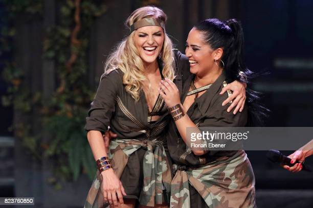 Bahar Kizil and Sandy Moelling perform on stage during the 1st show of the television competition 'Dance Dance Dance' on July 12 2017 in Cologne...