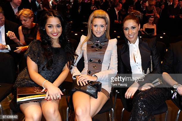 Bahar Kizil Mandy Capristo and Senna Guemmour of the band Monrose attend the Echo Award 2010 at Palais am Funkturm on March 4 2010 in Berlin Germany