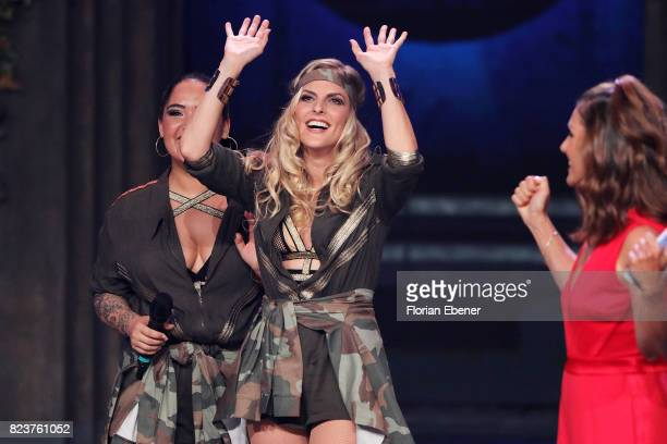 Bahar Kizil Sandy Moelling and Nazan Eckes during the 1st show of the television competition 'Dance Dance Dance' on July 12 2017 in Cologne Germany...