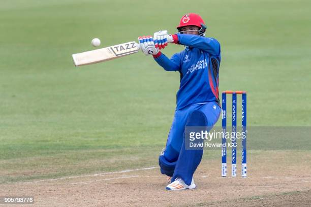 Baheer Shah of Afghanistan bats during the ICC U19 Cricket World Cup match between Sri Lanka and Afghanistan at Cobham Oval on January 17 2018 in...