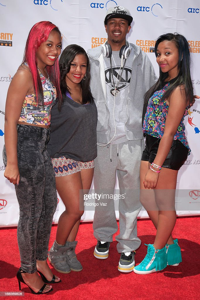 Bahja Rodriguez aka Miss Beauty, Breaunna Womack aka Miss Babydoll, producer Nick Cannon and Zonnique Pullins aka Miss Star arrive at LAUSD's Beyond the Bell Branch and Nick Cannons Celebrity High Present 'Spotlight On Success' at Paramount Studios on May 11, 2013 in Hollywood, California.