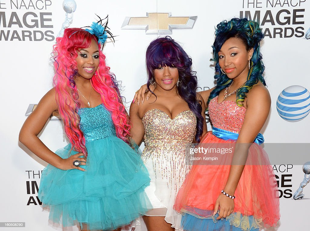 Bahja Rodriguez, Breaunna Womack and Zonnique Pullins of the OMG Girlz arrives at the 44th NAACP Image Awards held at The Shrine Auditorium on February 1, 2013 in Los Angeles, California.