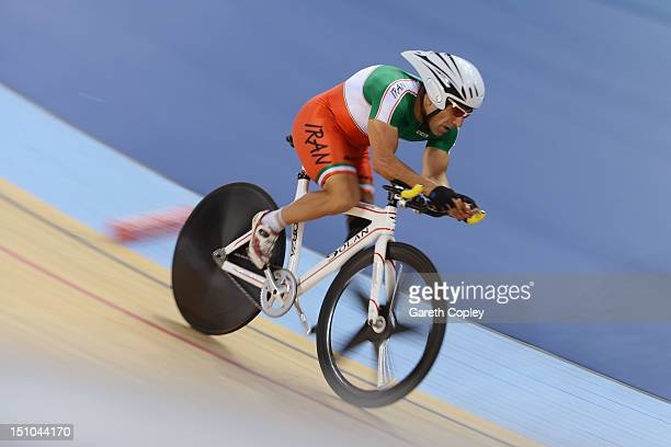 Bahman Golbarnezhad of Iran of Cuba competes in Men's Individual C45 1km Cycling Time Trial final on day 2 of the London 2012 Paralympic Games at...