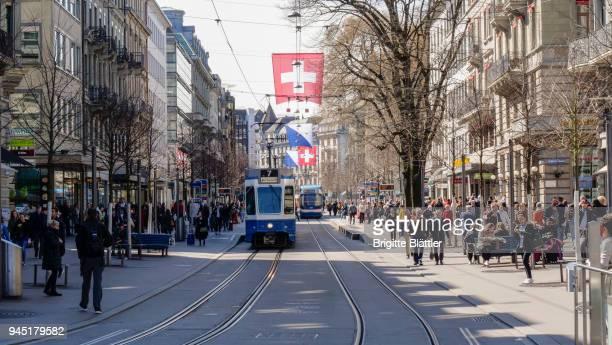 bahnhofstrasse in zürich, zurich - zurich stock pictures, royalty-free photos & images