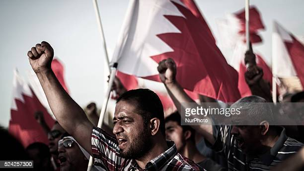 Bahrain Abu Saiba protester raising slogans during the demonstration thousands attended opposiotion demonstration many raised posters and banners...