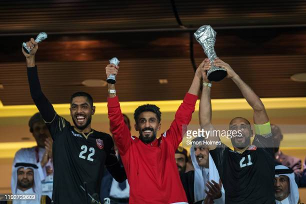 Bahrain captain Sayed Mohammed Jaffer lifts the Gulf Cup after the Gulf Cup final between Bahrain and Saudi Arabia at the Abdullah bin Khalifa...