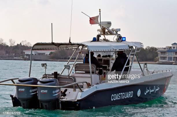 Bahrain Coastguard boats patrol the waterways outside the Bahraini capital Manama on December 19, 2020.