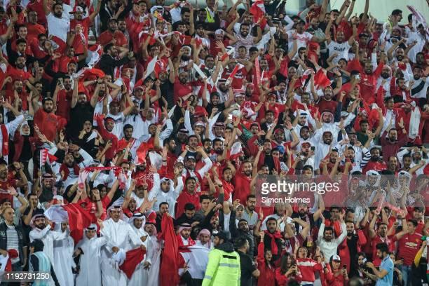 Bahrain fans during the Gulf Cup final between Bahrain and Saudi Arabia at the Abdullah bin Khalifa Stadium on December 8 2019 in Doha, Qatar.
