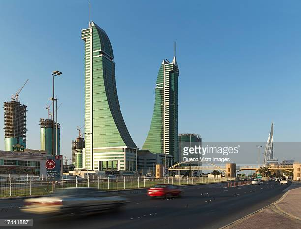bahrain financial harbour towers - manama stock pictures, royalty-free photos & images