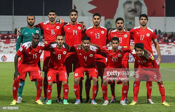 Bahrain footballers pose for team photo prior to the 2018 FIFA World Cup Round 2 - Group H qualification match between Bahrain and Uzbekistan in...