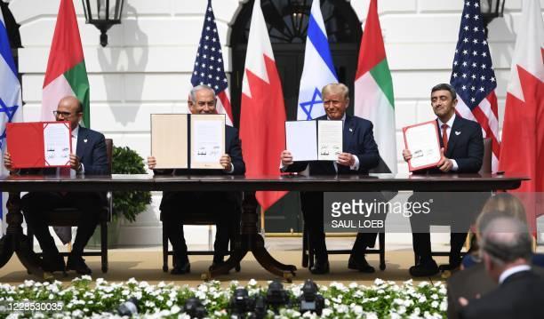 Bahrain Foreign Minister Abdullatif al-Zayani, Israeli Prime Minister Benjamin Netanyahu, US President Donald Trump, and UAE Foreign Minister...
